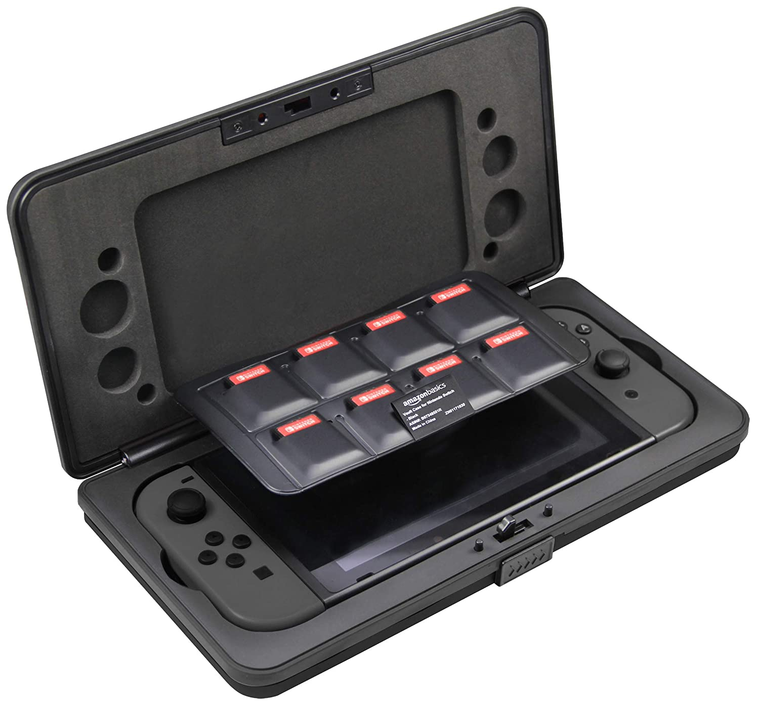 AmazonBasics Vault Case for Nintendo Switch And 8 Games - 10.5 x 5.5 x 2 Inches, Black