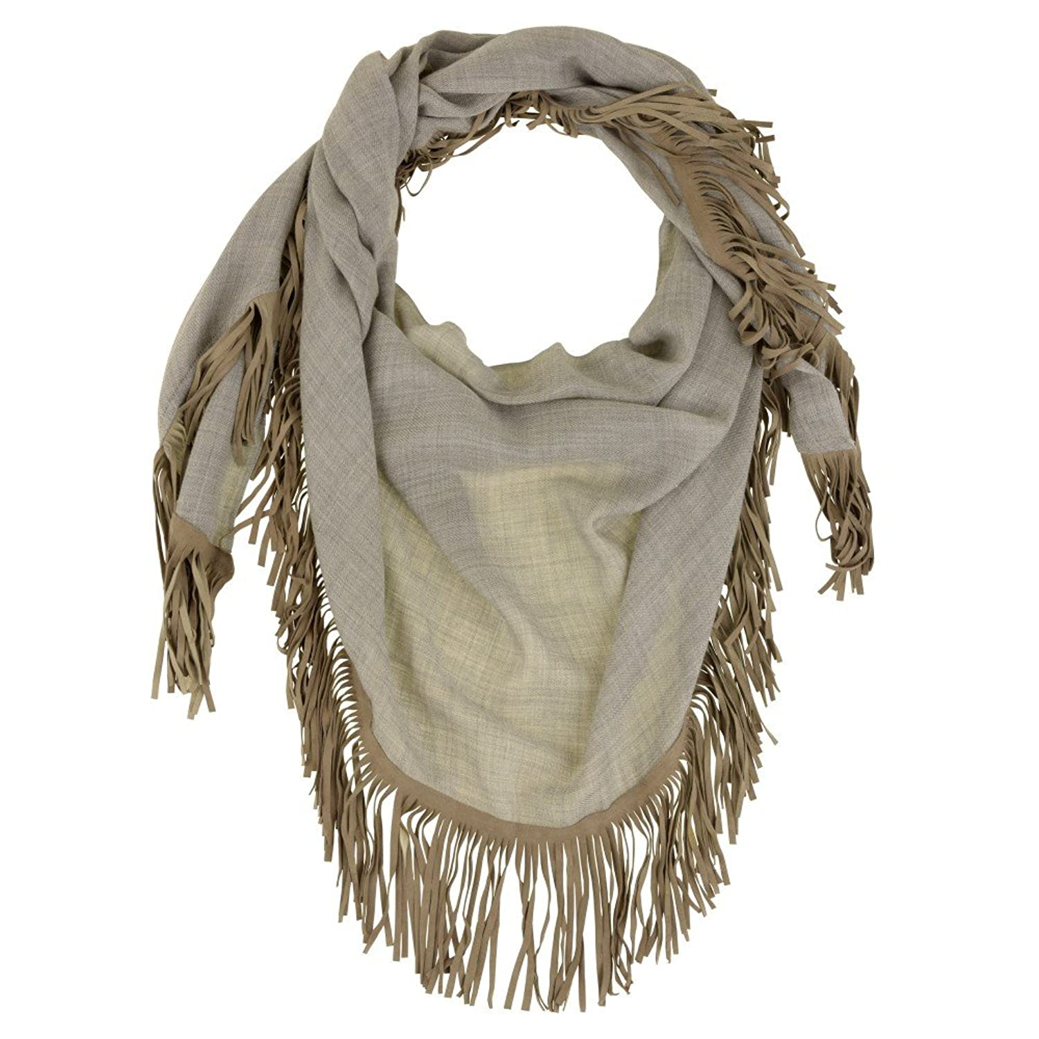 Scarf Triangle 100% Cashmere with Suede Fringes