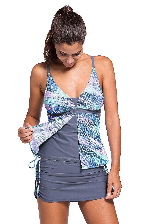 3f17bc648c902 DORISNEE Womens Tankinis Swimwear with Skirt Bottom Two Pieces Swimsuit  Set: Amazon.ca: Clothing & Accessories