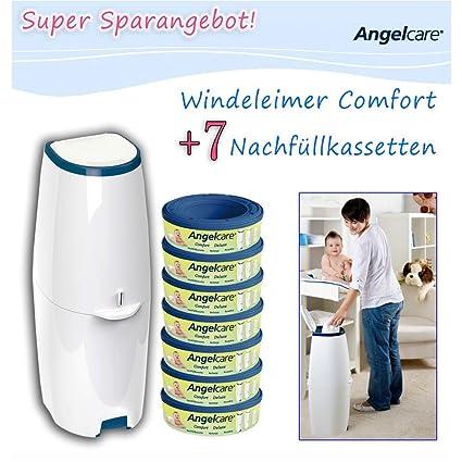Angelcare Comfort - Cubo de pañales, incluye 7 cartuchos de recambio