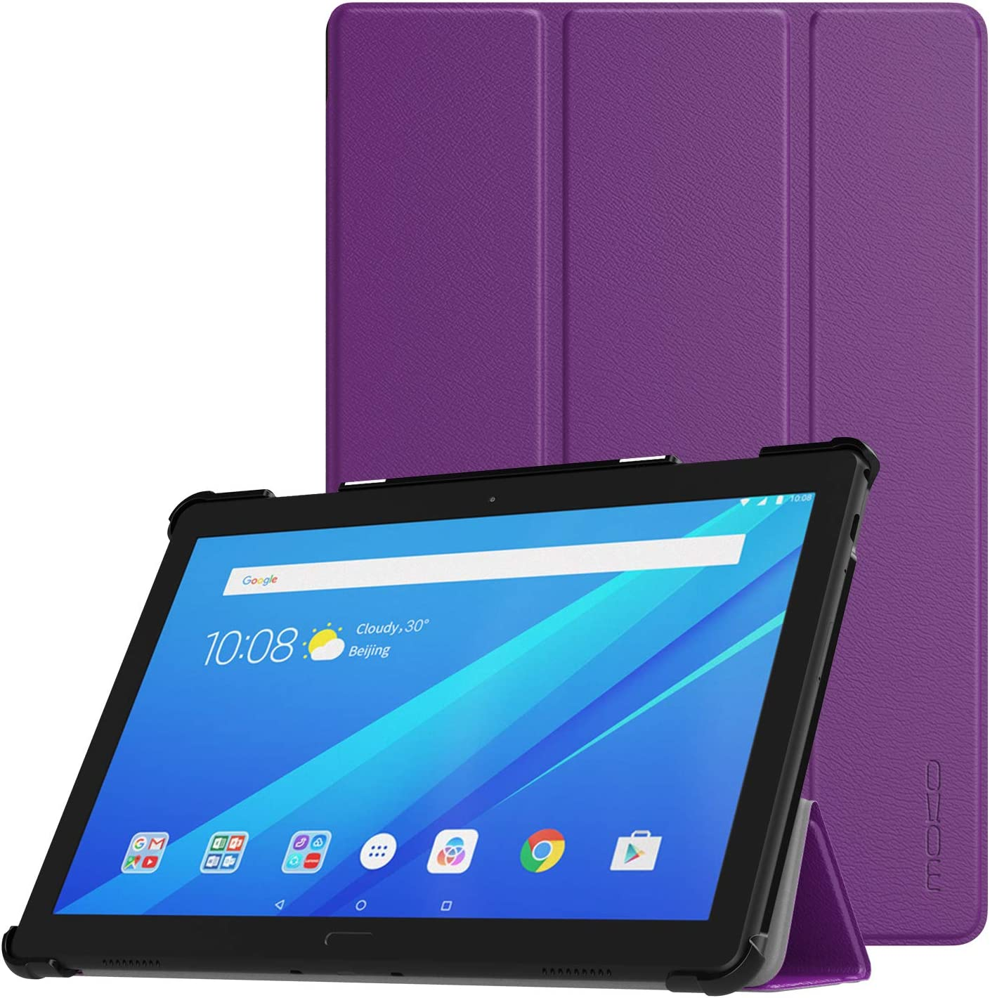 MoKo Case Fit Lenovo Tab P10 (TB-X705F), Ultra Thin Lightweight Trifold Slim Smart Shell Stand Cover Case with Auto Wake & Sleep for Lenovo Tab P10 (TB-X705F) 10.1 Inch 2019 Release Tablet - Purple