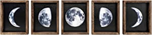 Dahey Rustic Moon Phases Wall Decor Wood Signs Moon Trio Framed Full Growth Cycle of The Moon Wall Art Prints Wall Hanging or Free Standing for Modern Home Decor, Set of 5