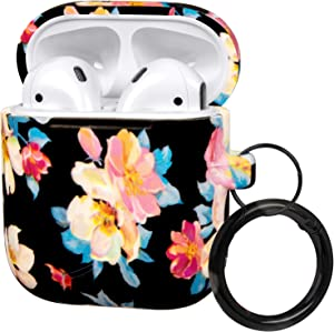 FRDERN AirPods case with Keychain Compatible for Apple AirPods 1 & 2 Soft Silicone Fadeless Pattern Printed Cases Women Girls Men, Support Wireless Charging for AirPods (Blue Flowers on Black)