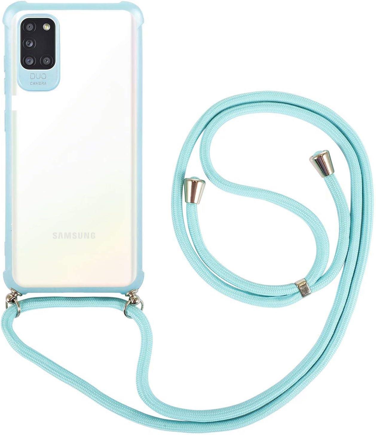 Azul BESTCASESKIN Funda Cuerda Compatible con Samsung Galaxy A31 Carcasa Transparente con Correa Colgante Collar de Cuello Cadena Cord/ó