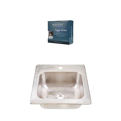 Sinkology KPD 1515HN AMZ Homer Drop In Hammered Nickel Kitchen Sink,  15u0026quot;