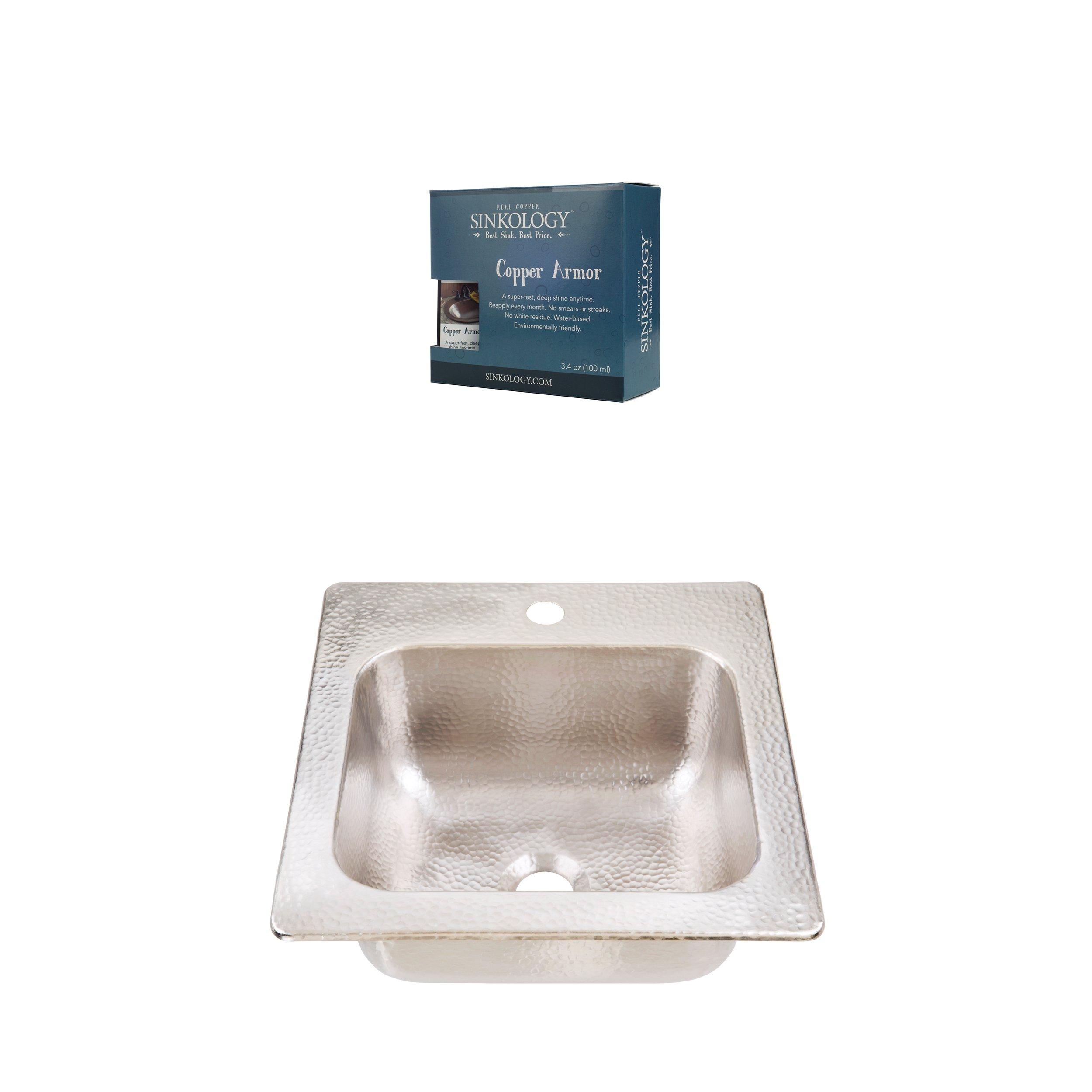 Sinkology KPD-1515HN-AMZ Homer Drop in Hammered Nickel Kitchen Sink, 15'' x 15'' x 8''