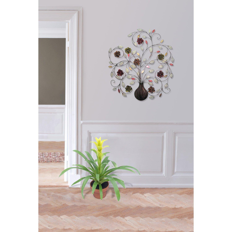 Amazon.com: 400-21890 decorativo de pared de metal de arte, Jarrón con flores, 28.66 pulgadas x 32 pulgadas: Home & Kitchen