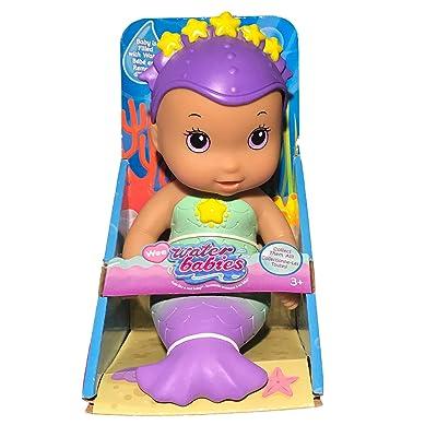 """Waterbabies Just Play Wee Splash Mermaid Water Baby 6"""" Doll Purple Eyes/Medium Skin Color: Toys & Games"""