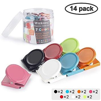 Wukong 14 PCS 7 Colorear Metal Magnetic Clips Imanes de Nevera de Cocina Imanes de Pizarra para el hogar Escolar Aula y Uso de Oficina