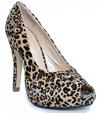 Raffinierte LEOPARDEN Leo PEEP TOES Pumps Pin Up