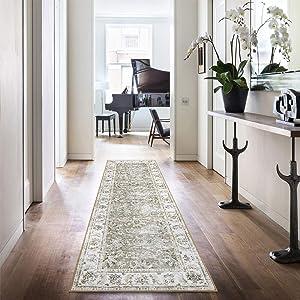 """jinchan Taupe Vintage Runner Rug Elegant Floral Area Rug Floorcover Indoor Low Pile Mat for Kitchen Living Room Bedroom 2'2"""" x 7'"""