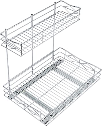 Esylife Pull Out Kitchen Storage Basket 2 Tier Sliding Out Under Sink Cabinet Organiser Shelf Fit For 400mm Wide Cabinet Cooking Dining Home Kitchen