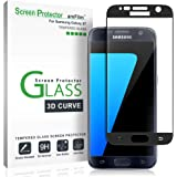 Galaxy S7 Screen Protector Glass (3D Curved Full Screen Coverage), amFilm Bye-Bye-Bubble 3D Curved Samsung Galaxy S7 Tempered Glass Screen Protector [NOT S7 Edge] 2016