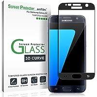 Verre Trempé Galaxy S7, amFilm Couverture Complète (Courbes 3D) Protecteur D'écran pour Samsung Galaxy S7 (Noir)