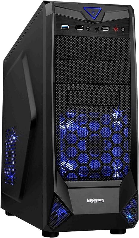 CiT Black Widow - Caja de Ordenador de sobremesa (3 x USB 2.0, 3.5 mm), Negro: Amazon.es: Informática