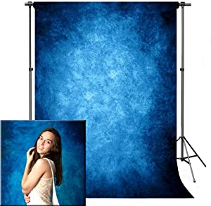 Photo Backdrop, econious 5x7ft Retro Abstract Blue Portrait Backdrop for Photography, Resistant Fleece-Like Cloth Fabric, with Rod Pocket (Backdrop Only)