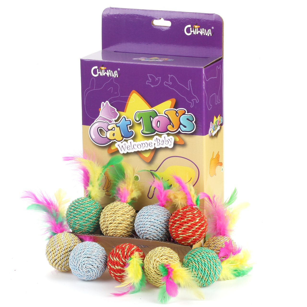 Chiwava 15PCS 1.6'' Rattle Scratching Cat Toys Ball with Feather Rope Balls Kitten Chase Interactive Toy Assorted Color