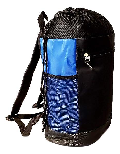 7b452fa5b Amazon.com   Personalized Tri-Mesh Microfiber Drawstring Backpack Gym Beach  Pool Swim (Black/Royal - No Embroidery)   Drawstring Bags