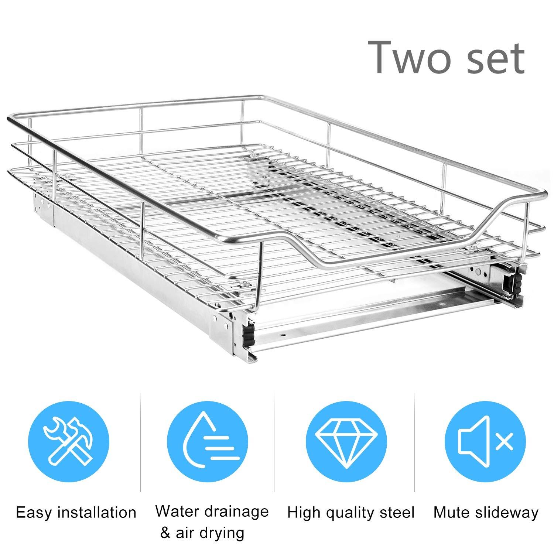EASYTECH Pull-Out Sliding Cabinet Organizer Storage Basket Rack Drawer for Wardrobes Cupboards,2 Set