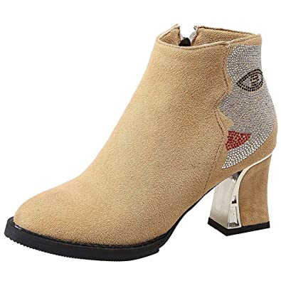 97f4852ce993 Vitalo Womens Chunky High Heel Zip Up Ankle Boots with Rhinestone Autumn  Winter Booties Size 9UK