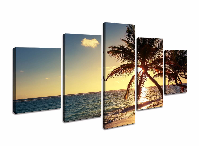 Amazon.com: Cao Gen Decor Art-AS42739 5 Panels Wall Art Beach ...