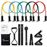 Resistance Bands Set, Sportneer Workout Bands with Door Anchor, Handles and Ankle Straps - Stackable Up To 105 lbs - For Resistance Training, Physical Therapy, Home Workouts, Yoga, Pilates-13 PCS
