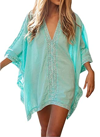 ff5a673391fd9 Women s Bikini Cover Up Beachwear Mini Dress with Lace Trim ...