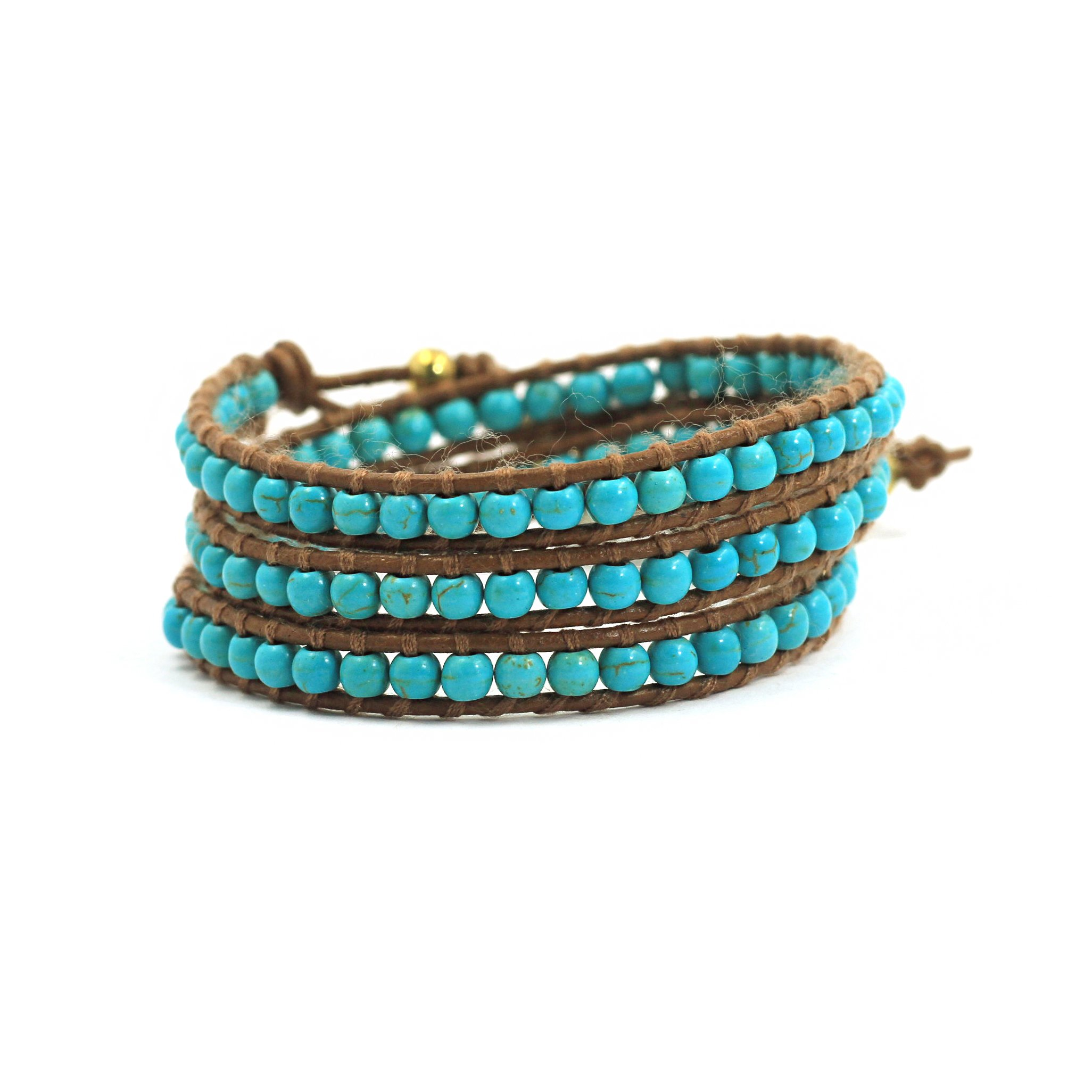 tom+alice Womens Natural Turquoise Jewelry,Genuine Leather Bracelets 3 Wraps Cuff Bracelet for Girls