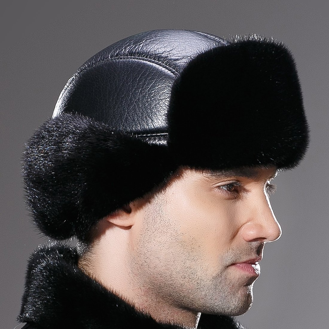 URSFUR Winter Leather Men Fur Hat Real Mink Fur Russian Trapper Hats Black by URSFUR (Image #8)