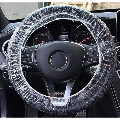 Elantrip 100 Pcs Disposable Plastic Steering Wheel Cover Universal White Plastic: Automotive