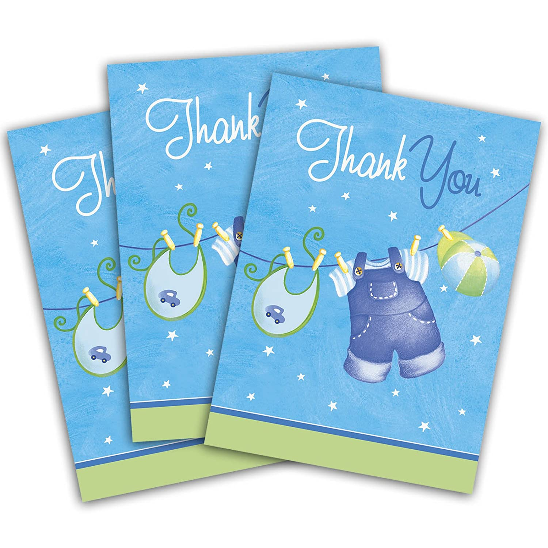 8Bleu de Mignon garçon Étendoir bébé douche Party Carte de remerciement Thank You avec enveloppes Unique
