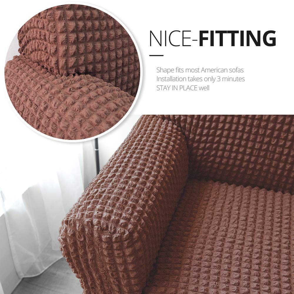 1 Seater Chocolate Brown NICEEC Armchair Slipcover Brown Armchair Full Covers 1 Piece Easy Fitted Sofa Couch Cover Universal High Stretchable Durable Furniture Protector Country Style