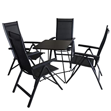Amazon De 5tlg Balkonmobel Set Bistrotisch Metall 60x60cm