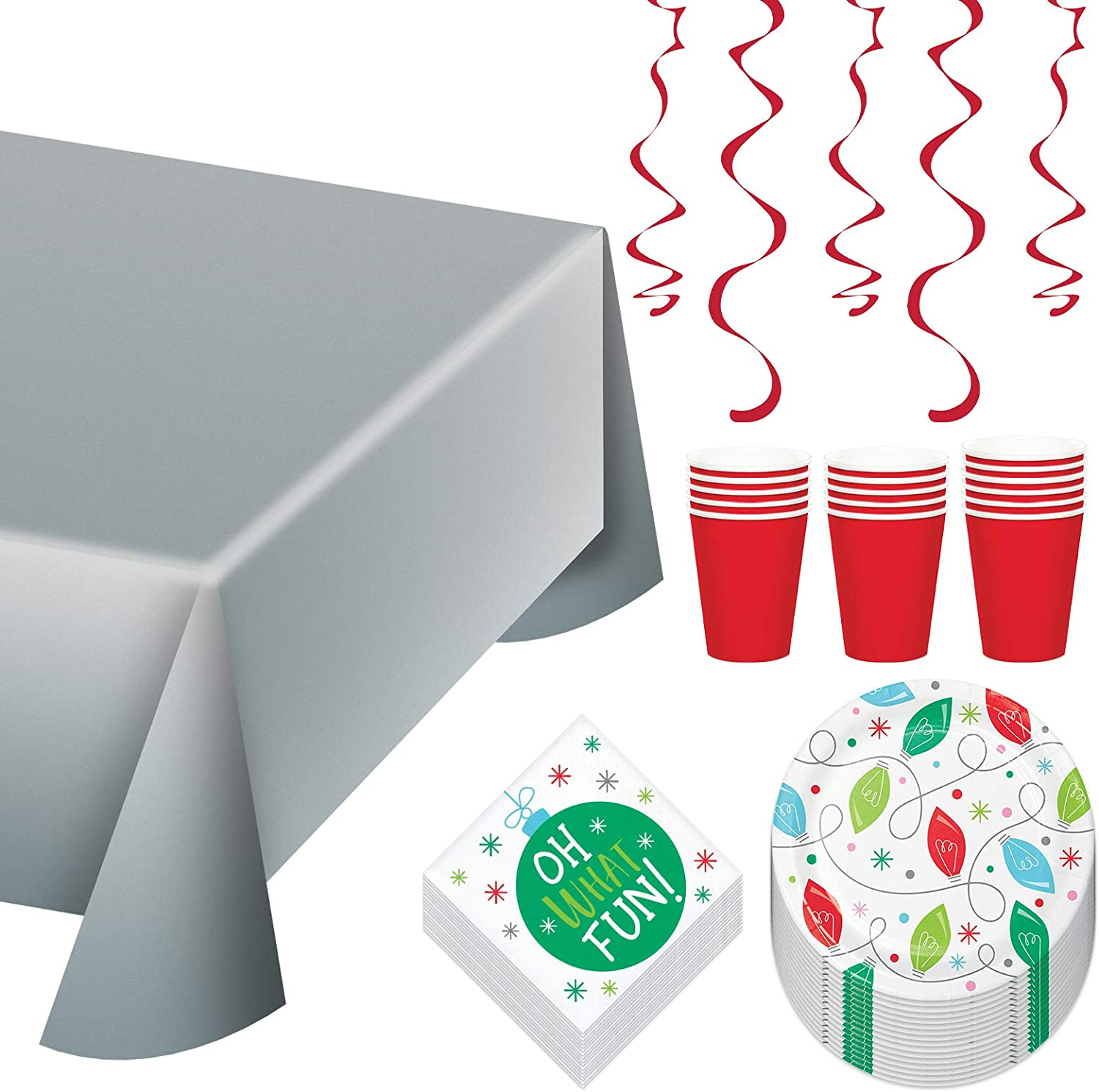 Holiday Whimsy Dessert Party Pack - Christmas Lights Paper Dessert Plates, Beverage Napkins, Red Paper Cups, and Silver Plastic Table Cover (Serves 16)