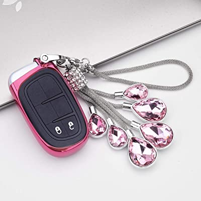 Royalfox(TM 2 3 4 5 Buttons TPU Smart Remote Key Fob case Cover for Chrysler 300 200 Dodge Charger Challenger Dart Durango Journey,Jeep Grand Cherokee Renegade Fiat Freemont (Pink with Bling Chain): Automotive