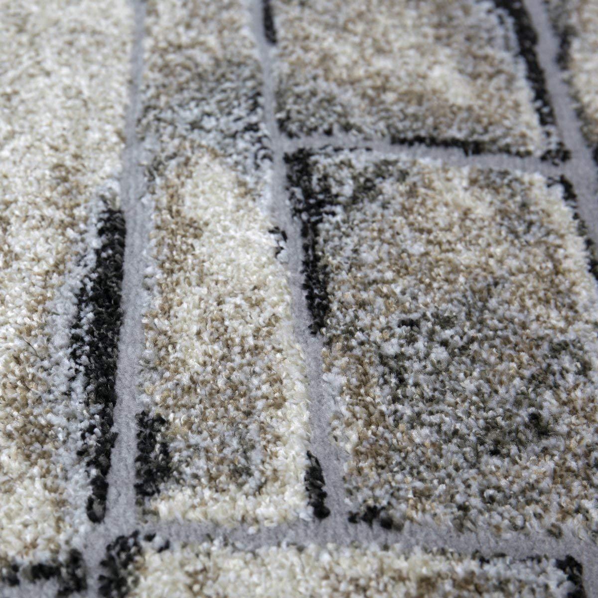 Vimoda Alta qualit/à Camera da Letto E Salotto Tappeto Grigio Pietra Marrone Muro Ottica 3D-Contorni Sporchi 80x150 cm Grigio
