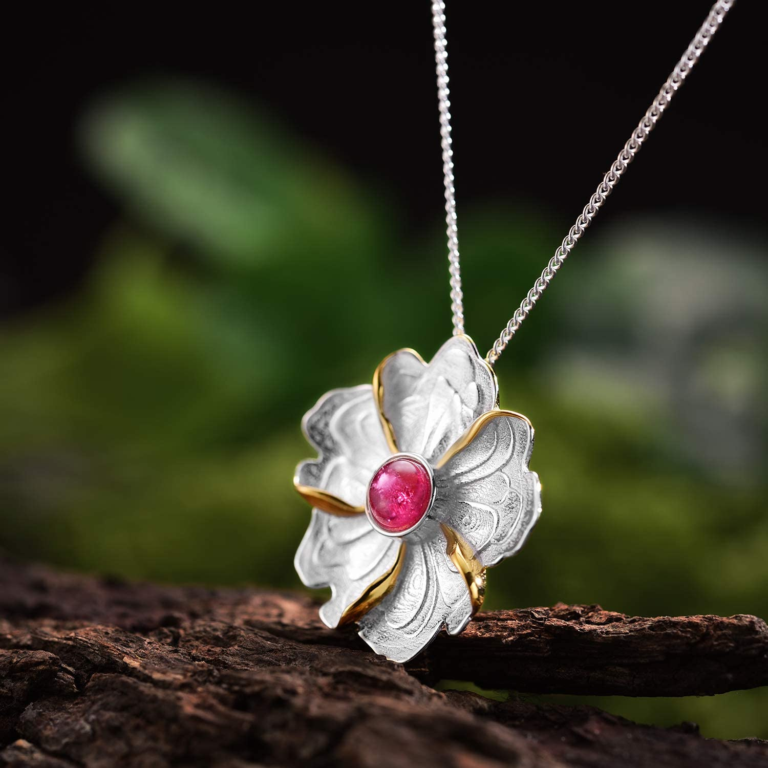 Lotus Fun S925 Sterling Silver Peony Flower Pendant Natural Tourmaline Creative Handmade Unique Jewellery for Women and Girls