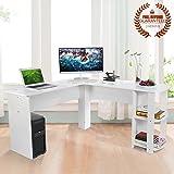 Ej. Life L-Shaped Office Computer Desk, Large Corner PC Table 2 Shelves Home Office Use, White Wood Grain