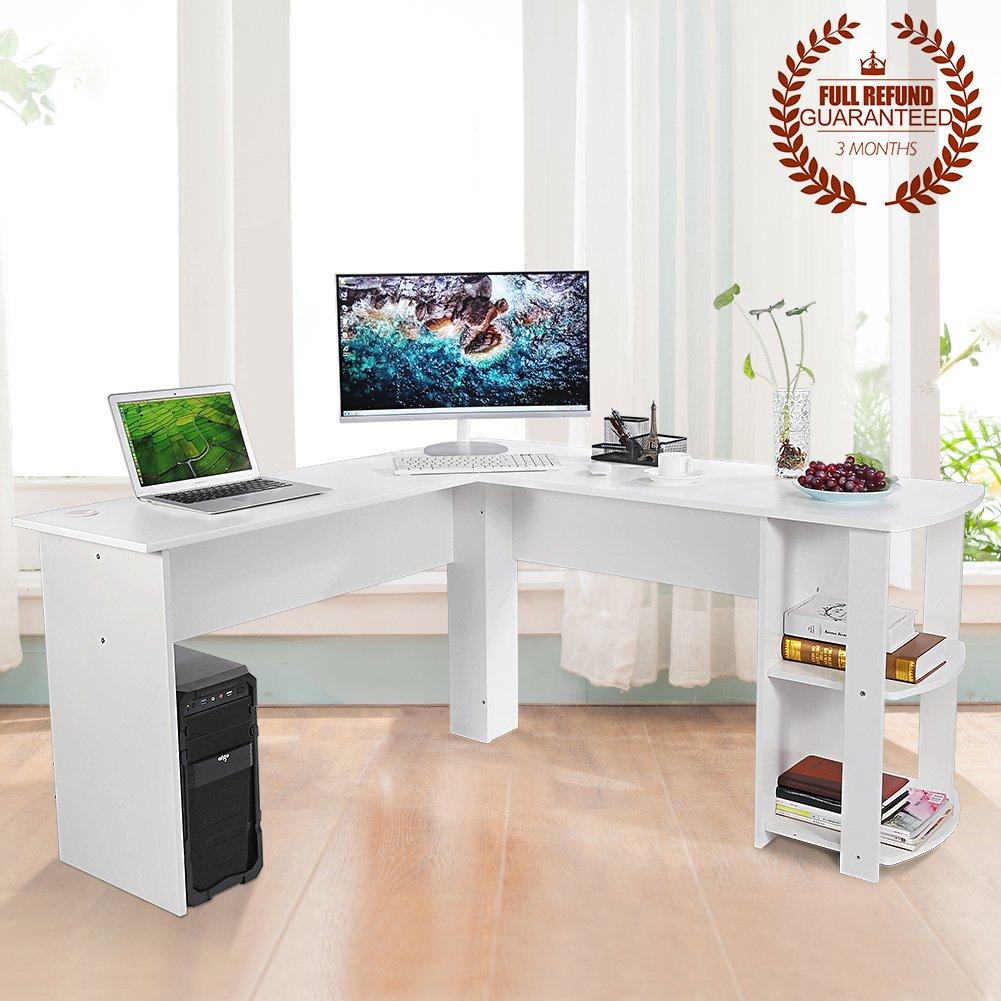 large white office desk. Ej. Life L-Shaped Office Computer Desk, Large Corner PC Table 2 Shelves White Desk