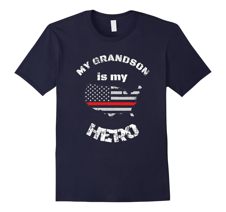Firefighter Grandson Red Line Flag Shirt for Grandpa-T-Shirt