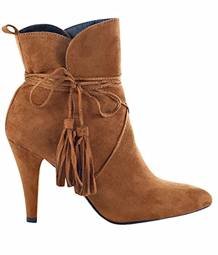 Women's Sally Pointed Toe Tassel Detailing Stiletto Suede Ankle Dress Booties