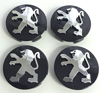 4 x Peugeot 60 mm Buje tapas Buje Tapa Tapacubos Llanta Tapa Negro Cromo: Amazon.es: Coche y moto