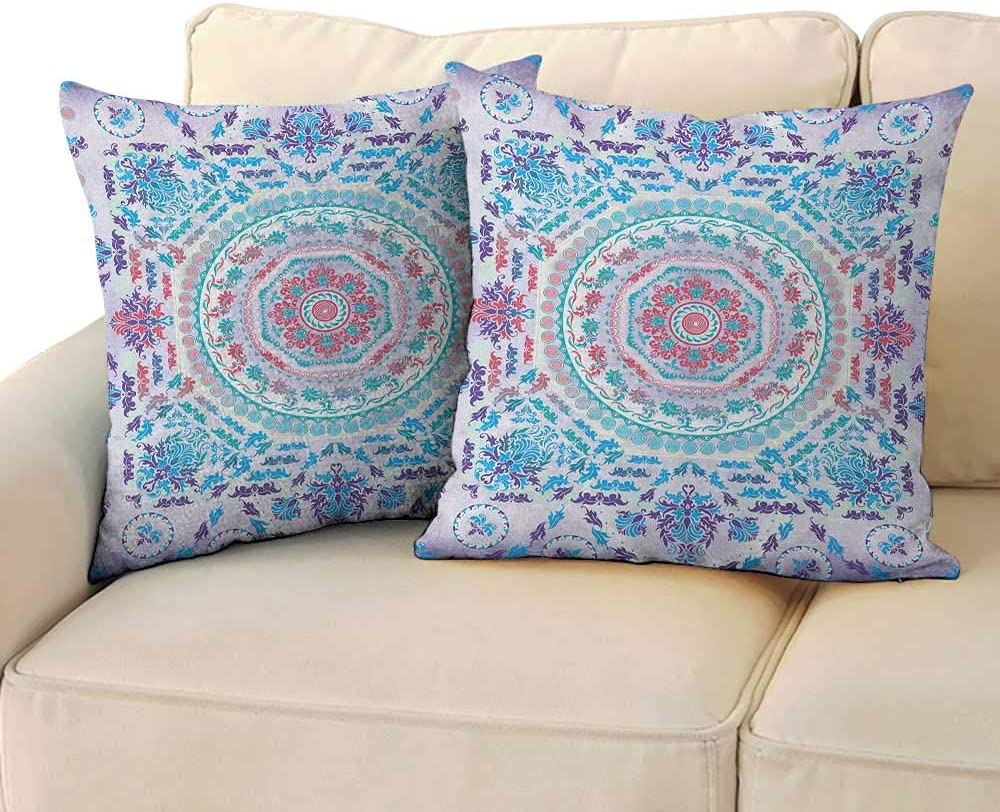 """RenteriaDecor Mandala,Personalized Pillow Cases Medallion Design Floral Patterns and Leaves Boho Hippie Style Prints 16""""x 16""""x2 Soft & Wrinkle Free Turquoise Pink and Purple"""
