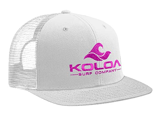 2d89a7940fd Koloa Surf(tm) Mesh Back Wave Logo Trucker Hat in White White Neon Pink Logo   Amazon.in  Clothing   Accessories