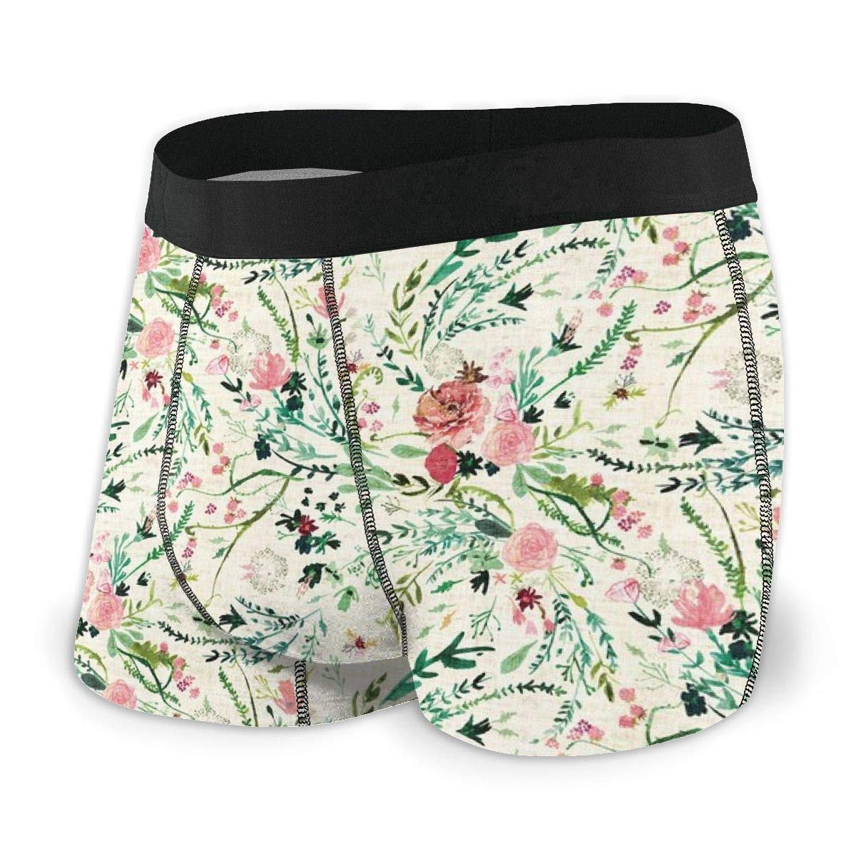 MED Cream Mens no Ride-up Boxer Briefs,Fable Spring Floral /_1302
