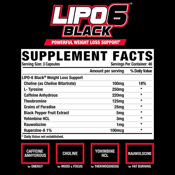Nutrex Research Lipo-6 Black Extreme Potency Powerful Weight Loss, Appetite Suppressant, Energy Focus Diet Pills, 120 Count