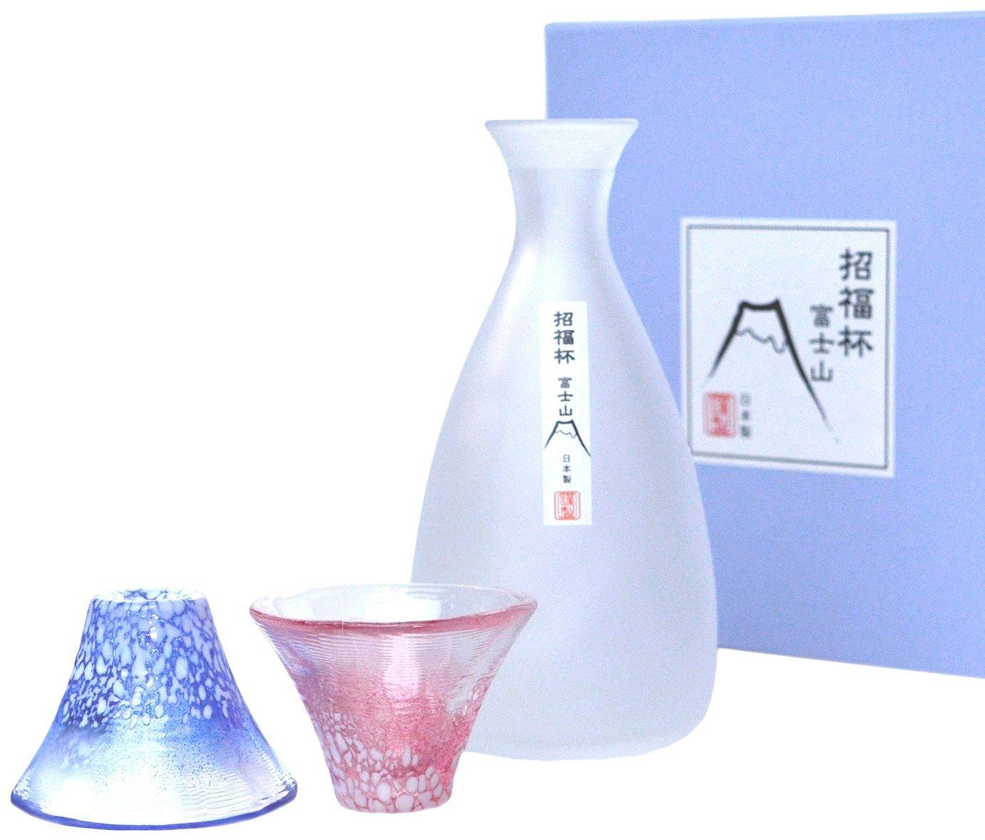 Made in Japan ]µ•ŸCup Mount Fuji cup sake bottle set Gift BOX containing ( capacity Cup 35ml ~ 2 pieces , sake bottle 270ml) G639-M76