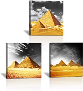 3 Panel Egyptian Pyramids Canvas Wall Picture Orange Gray White Photo Modern Art Bathroom Bedroom Poster Decorative Giclee Print Home Decor Ready to Hang 12