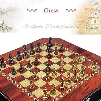 AK Ajedrez magnético Metal Brillante Vintage Chapado en oro Piezas de ajedrez Tablero de ajedrez de madera maciza Juego de ajedrez profesional de alto grado Set Regalos Juego de ajedrez: Amazon.es: Bricolaje