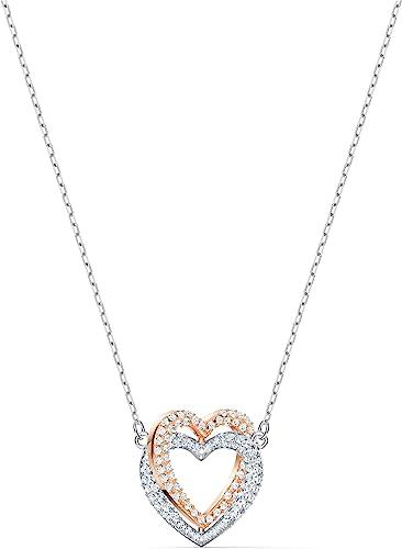 Swarovski Collier Swarovski Infinity Double Heart, blanc, finition mix de  métal